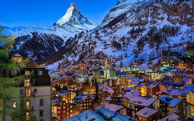 Zermatt Impressive Winter Atmosphere Switzerland Matterhorn Peak HD Desktop Wallpaper