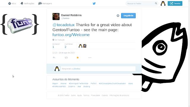 Daniel Robins me agradece pelo vídeo via Twitter
