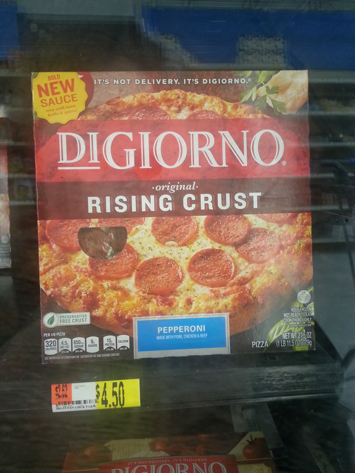 $4.50 a pie rollback prices for Digiorno pizza at Walmart