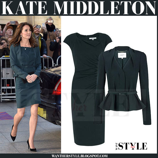 Kate Middleton in green jude jacket and green davina dress lk bennett what she wore elegant outfit