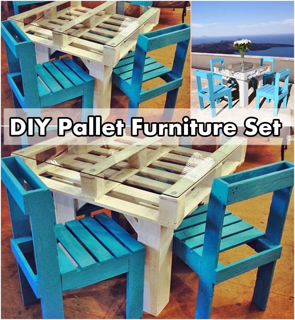 Diy pallet furniture set diy craft projects for Pallet furniture projects