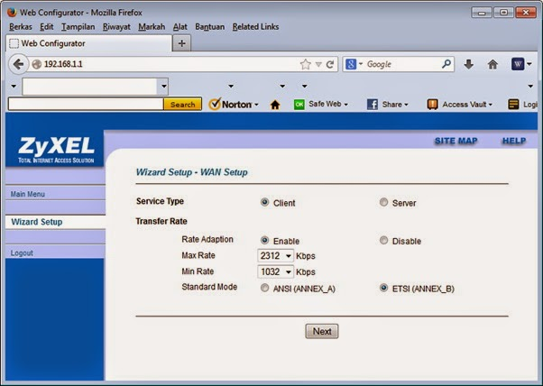 Web Configurator Wizard Setup - WAN Setup
