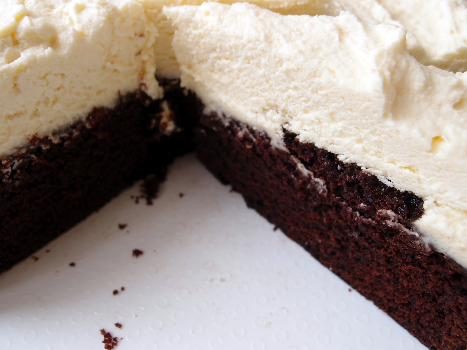 ... and Honey: Easy Chocolate Cake with Fluffy White Chocolate Frosting