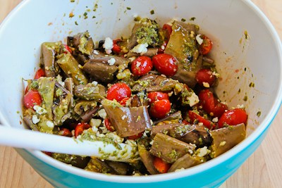... Grilled Eggplant, Grape Tomato, and Feta Salad with Basil, Parsley