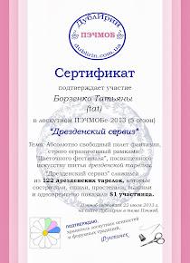 Сертификат за участие в ПЭЧМОБЕ 2013