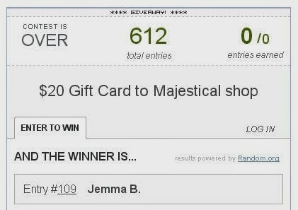 majestical giveaway winner on fashion and cookies