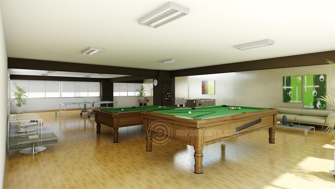Dise o en 3 dimensiones de sala de juegos billar ping pong for Sala de adultos de moda