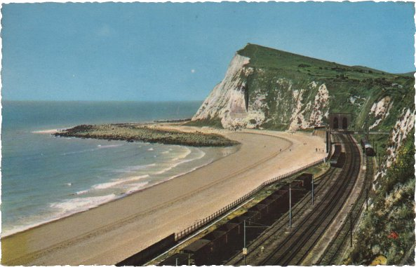 deckle edge postcard of Shakespeare Cliff and railway line