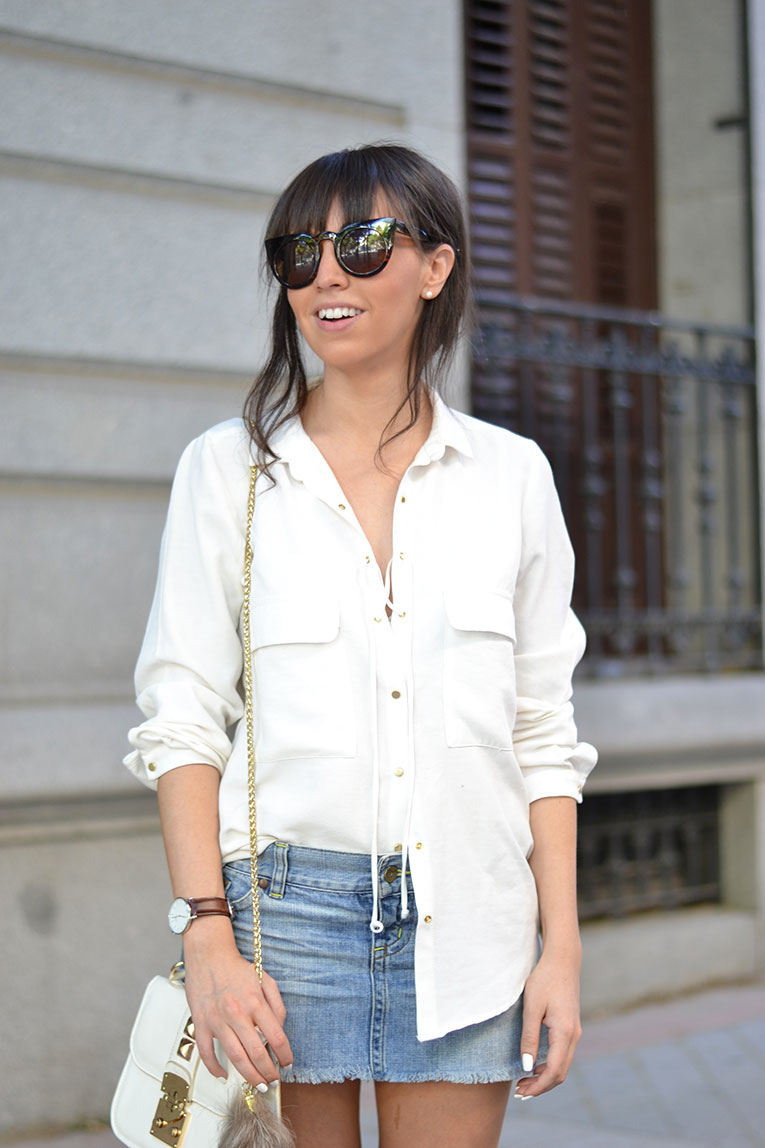 denim skirt, gladiator sandals, cat eye sunglasses, white lace up blouse