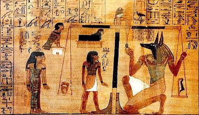 Juicio Final de Osiris que aparece en el Libro de los Muertos. Arte antiguo Egipto.