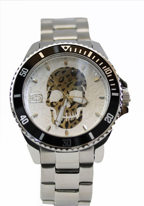 Marc Ecko Mens Quartz Black & Silver Skull Dial Coin Edged Bezel Stainless Steel Watch E11575G2