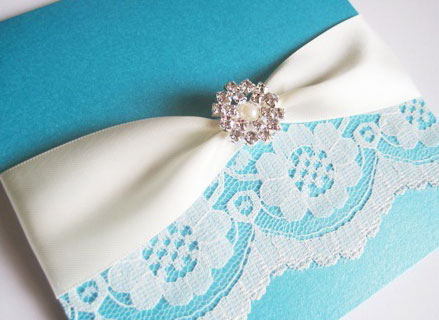 Pearl and Lace Wedding Invitations