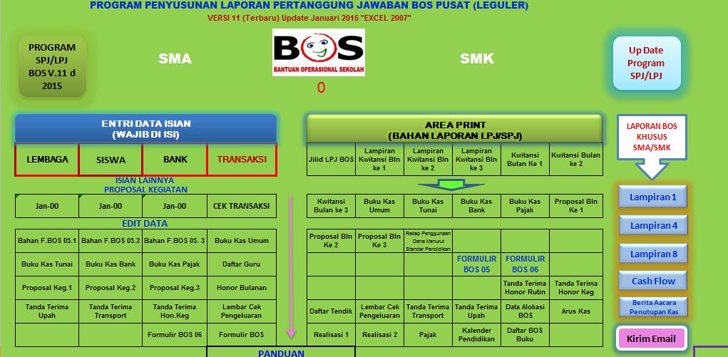 Aplikasi Pembuat Laporan SPJ BOS Referensi 2016 Format Excel [Semua Jenjang Pendidikan]