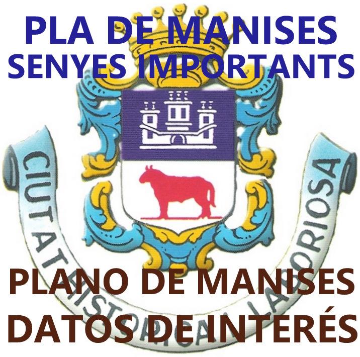 VISTA AÉREA Y PLANO DE LA CIUDAD DE MANISES CON INFORMACIÓN BÁSICA: TELS., TOURIST INFO, AYTO.,ETC.