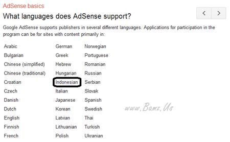 Akhirnya Google Adsense Support Bahasa Indonesia Lagi
