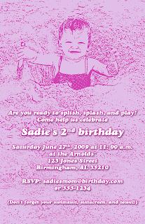 Custom Printables Sadie's sandy second birthday party invitation