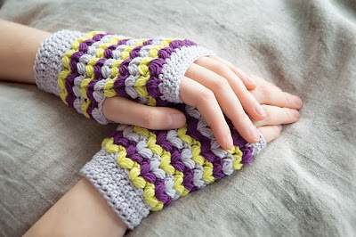 free crochet pattern neon fingerless gloves