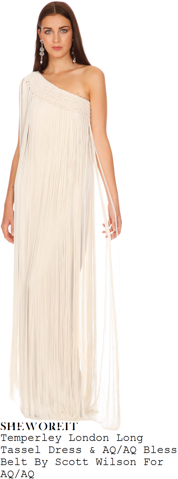 tamera-foster-white-asymmetric-tassel-fringe-maxi-dress-and-black-and-gold-cross-waist-belt-x-factor