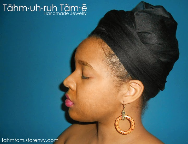 earrings,wood hoops,leopard print,dope,fly,urban,headwrap,bronze chain,ethnic jewelry,Tähm·uh·ruh Tãm∙ē,Tahm Tam Jewelry Designs