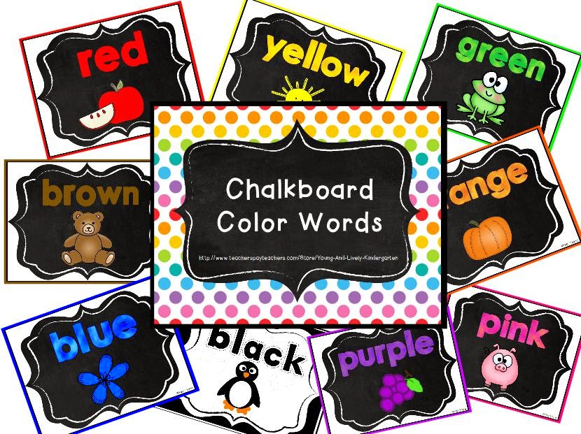 http://www.teacherspayteachers.com/Product/Chalkboard-Color-Words-1333445