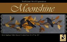 "Moonshine Wool Applique Runner 10.5"" by 37"""