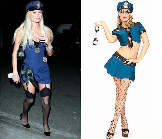 Paris Hilton disfraz mujer policía sexy, y disfraz mujer policía sexy