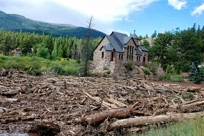 Get Well, Colorado! St Malo Church, Between Allenspark and Estes Park www.thebrighterwriter.blogspot.com #2013ColoradoFlood #Coloradoflood #stmalochurch #estespark #mountainstrong