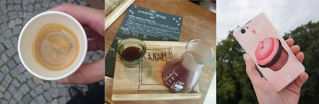 Espresso z Cafe Mitte, filtr v Canall, obal na mobil s cupcakem
