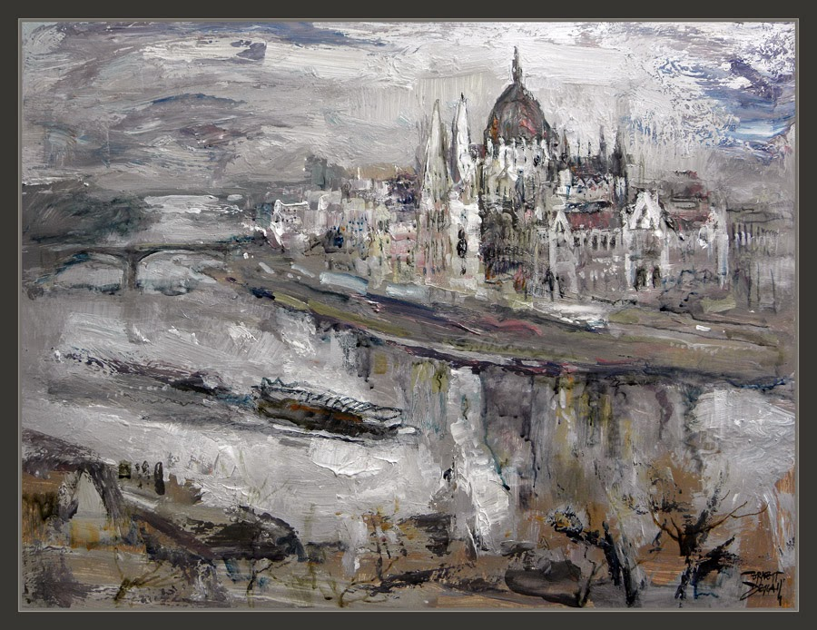 BUDAPEST-PINTURA-HUNGRIA-DANUBIO-PARLAMENTO-PAISAJES-DANUBE-HUNGARY-PAINTINGS-LANDSCAPE-PARLIAMENT-ARTWORK-PINTOR-ERNEST DESCALS