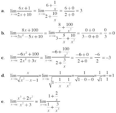 menyelesaikan limit fungsi tak hingga Anda dapat menggunakan Teorema Limit Utama