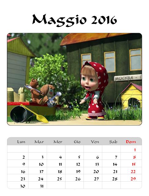 Calendario 2016 - Masha e Orso - MAggio