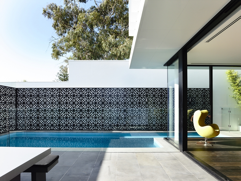 Terrace with swimming pool in Perfect Modern Townhouse by Martin Friedrich Architects