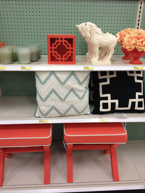 coral or tangerine x-benches at Target