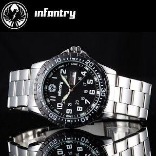 New INFANTRY Mens Luminous DATE&DAY Quartz Army Watch Stainless Steel Waterproof