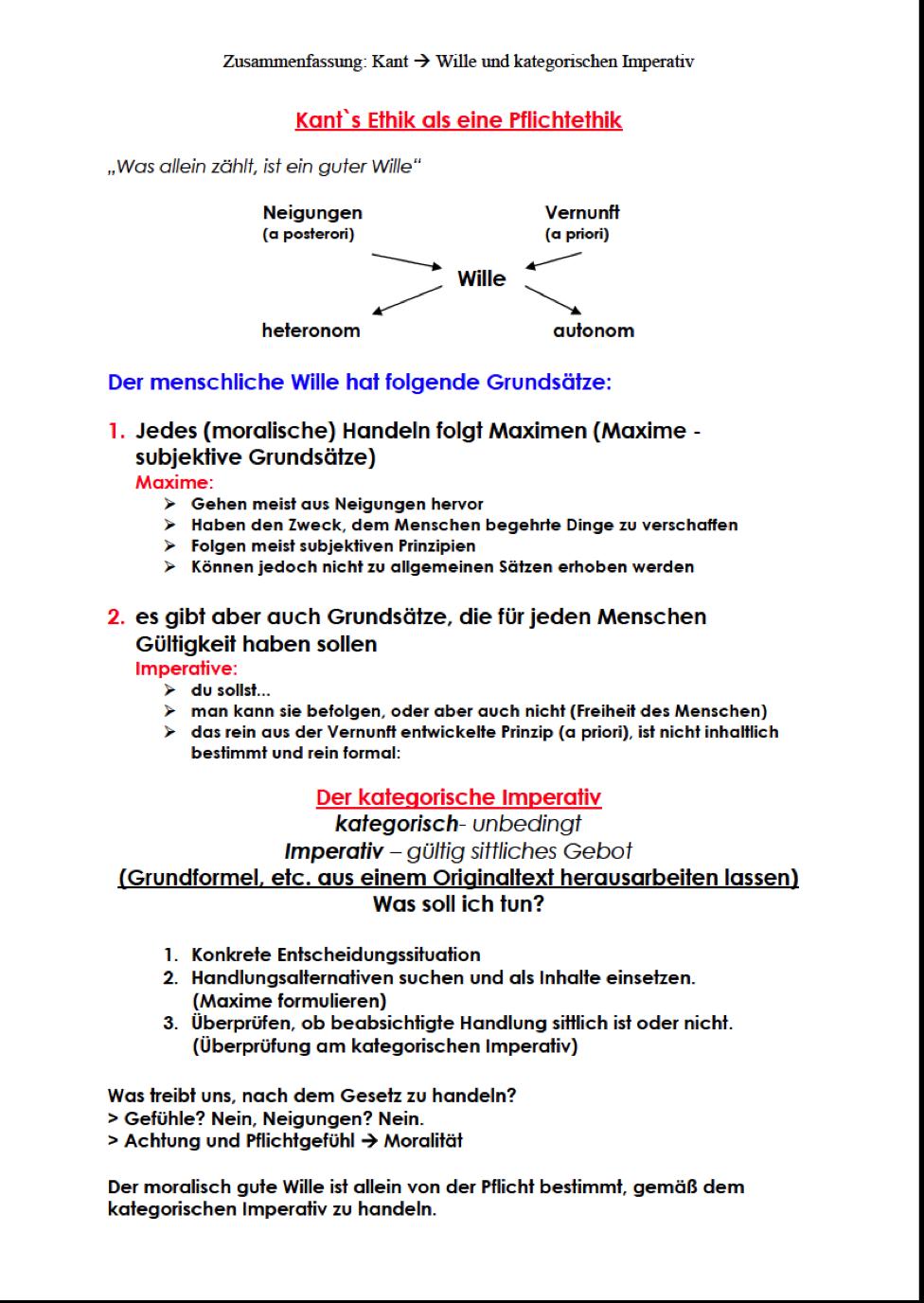 Ethik Unterricht für Q3- 2015: Kant Wille und Kategorischen Imperativ