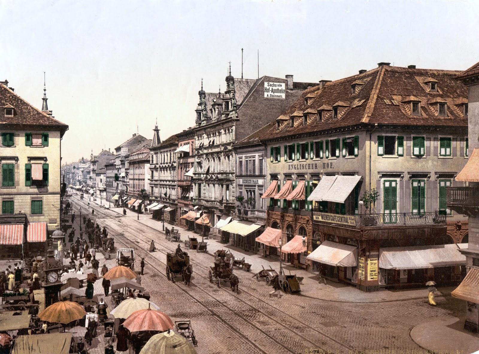Karlsruhe Germany  city photos : Kaiser Strasse, Karlsruhe, Baden, Germany, ca. 1890 1900