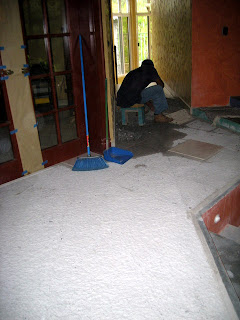 wet concrete for less dust, removing ceramic tile