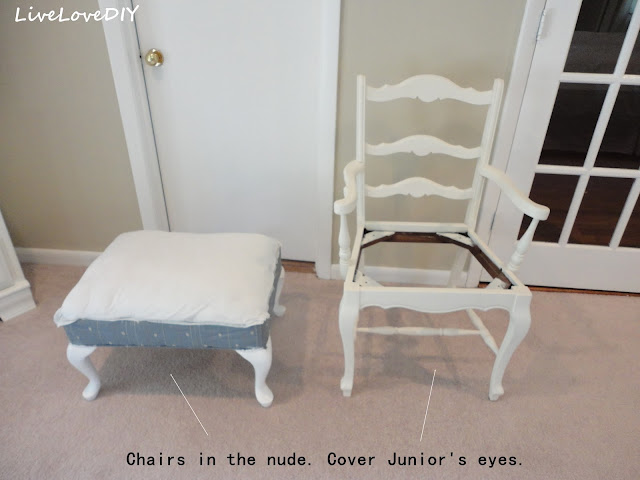 Upholster an old chair using a dropcloth from a home improvement store. A totally affordable way to update your upholstery!