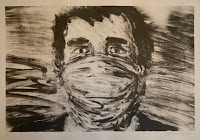 Drawing of a white man gagged with a cloth