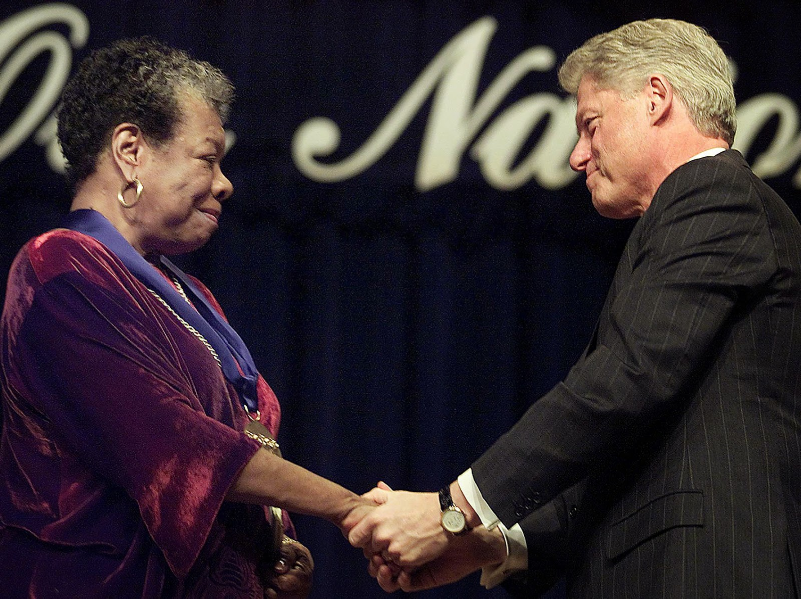 Maya Angelou Received National Medal Of Arts From Former President Bill Clinton
