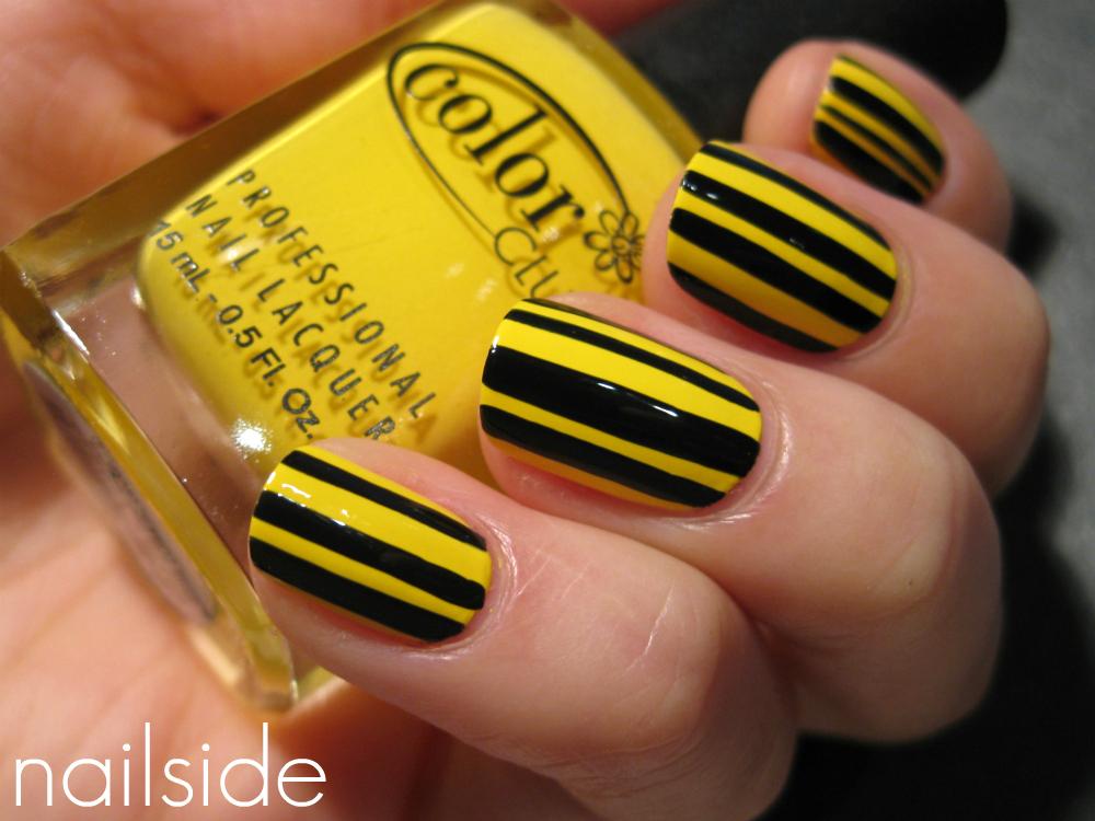 Nail Art Design Yellow Black Stripes