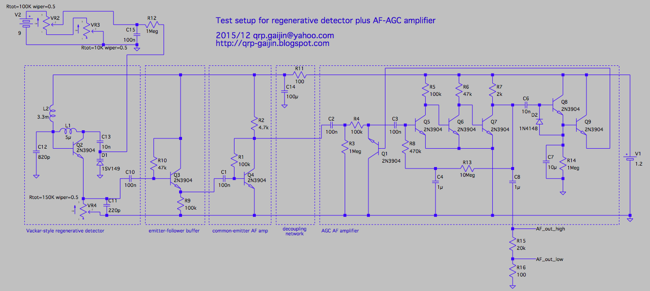 Qrp Gaijin 2015 Variableresistorcontrolled Regenerative Receiver Circuit Diagram The Top Half Of Breadboard Is Vackar Style Detector Q2 Bottom Af Part Buffer