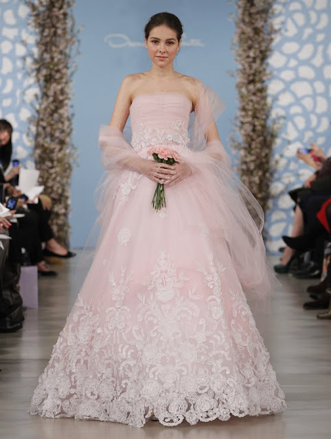 Oscar de la Renta Spring 2014 Blush Lace Wedding Dresses