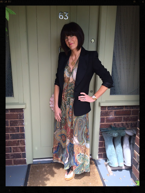 My Midlife Fashion, Tuxedo, Blazer, Jacket, Boho Dress, Maxi Dress, Zara, Studded Sandals, Zara