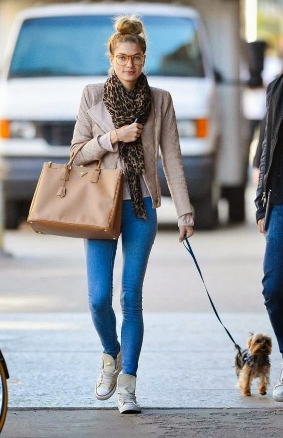 Jessica Hart Seen walking her dog in New York City