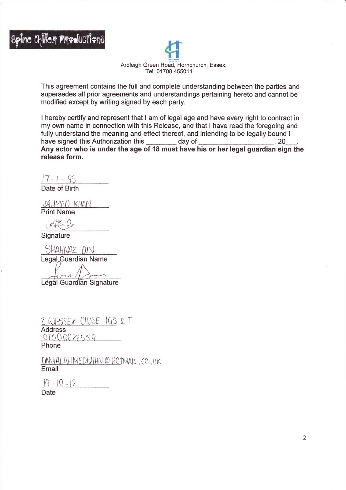 AS Media Studies Foundation Portfolio Unit G321 Actor Release – Actor Release Forms