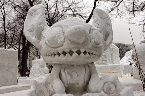 Little beast snow sculpture