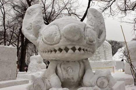 Little beast snow sculpture