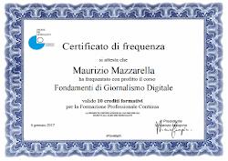 """Certificato di Frequenza """"Fondamenti di Giornalismo Digitale"""""""