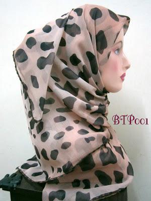 Tudung Bawal 2 Tone Printed Leopard